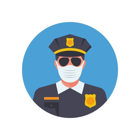 Police in medical mask. Officer avatar in facial mask. Vector illustration flat design. Officer observes the rules of prevention covid-19. Control coronavirus.