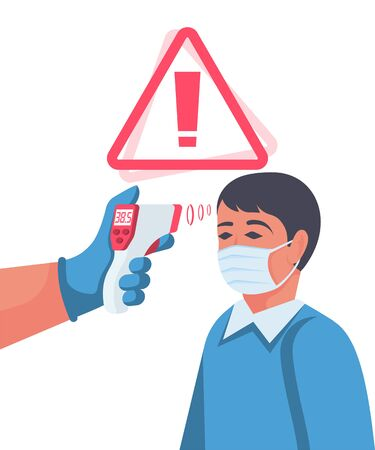 Temperature check concept. Symptoms of disease. Attention high temperature. Patient with coronavirus. Non-contact thermometer in hand. Virus prevention. Epidemic 2019-ncov. Vector flat design.
