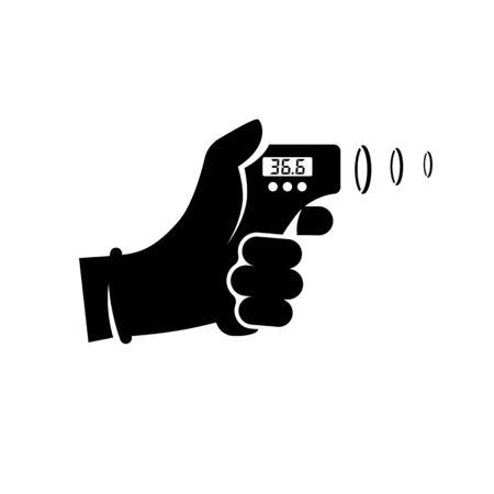 Digitales berührungsloses Infrarot-Thermometer im Handdoktor. Medizinisches Thermometer, das die Körpertemperatur misst. Vektor-flaches Design. Isolierter weißer Hintergrund. Prävention der Coronavirus-Krankheit 2019-nCoV. Vektorgrafik