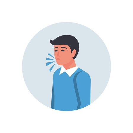 A man coughs without covering his mouth with his hand. Symptoms of coronavirus covid-19 disease. Vector flat icon. Cartoon style. The disease is pneumonia or bronchitis or asthma.