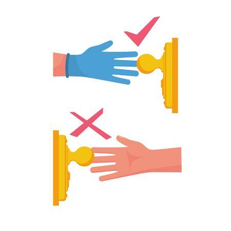 Precautions coronavirus. Infographic elements how to open door. Safety, antibacterial methods of combating diseases. Handle in protective gloves. Vector cartoon design. Danger of disease covid 19.
