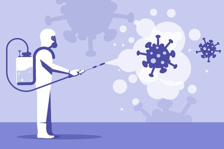 Disinfection coronavirus covid-19. Worker in chemical hazmat suit protection and equipment. Spraying antibacterial. Biological precaution. Vector flat design. Isolated on white background. Illustration