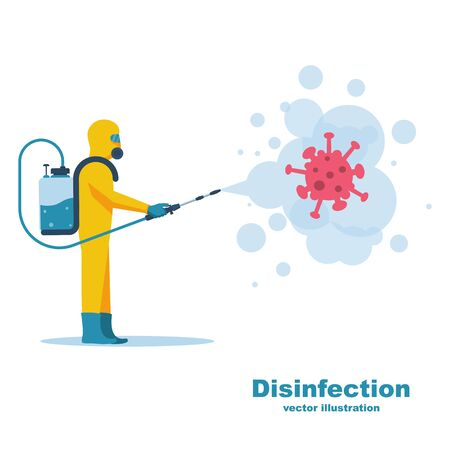 Disinfection concept. Worker in chemical hazmat suit protection and equipment. Coronavirus covid-19. Spraying antibacterial. Biological precaution. Vector flat design. Isolated on white background.