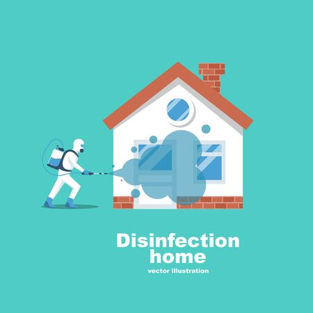 Disinfection home. Service prevention controlling epidemic of coronavirus covid-2019. Worker in hazmat suit does sanitization. Chemical protection. Vector illustration flat design. Cleaner in hand.