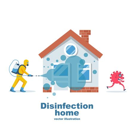 Disinfection home. Prevention controlling epidemic of coronavirus covid-2019. Worker in hazmat suit does sanitization. Chemical protection. Vector illustration flat design. Cleaner in hand.