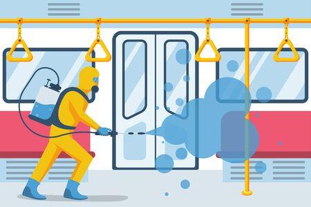 Un travailleur en tenue de protection désinfecte une voiture de métro vide. Transports en commun de la ville. Design plat d'illustration vectorielle. Arrêtez le covid-19. Prévention coronavirus. Désinfection et nettoyage. Lavage antibactérien.
