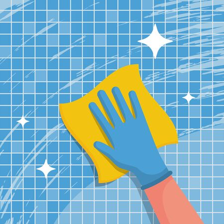A housework worker wipes the tiles in the bathroom with napkin. Wipe with cloth. Blue gloves on the hands. Housekeeping service concept. Cleaning and disinfection. Vector illustration flat design. Vectores