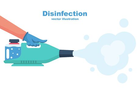 Landing page coronavirus protection. Disinfectant concept. Cleaning and disinfecting. Atomizer and sprayer. Man in gloves hold bottle of antiseptic spray. Antibacterial flask. Vector flat design.