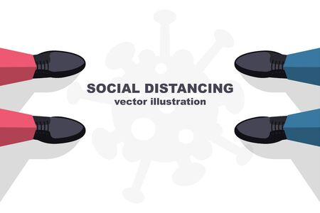 Social distancing concept. Landing page social awareness. The legs of two men standing far apart. Keep distance. Coronavirus Prevention covid-19. Vector illustration flat design.