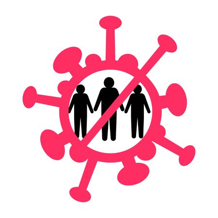 Prohibition pictogram red sign. No meeting people. Ban on public. Ban gathering. Prohibition of get-together for two. Silhouette stop many group. Coronavirus Prevention covid-19. Vector illustration.