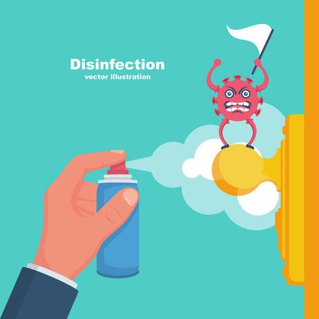 Close-up disinfection of door handles. Spraying disinfectant alcohol to handle of door. Cartoon coronavirus surrenders. Covid-19 give up. Vector flat design. Prevention concept. Controlling epidemic. Stock Illustratie