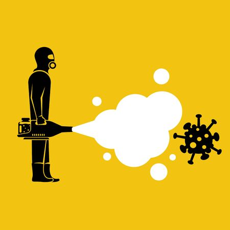 Disinfection coronavirus covid-19. Worker in chemical hazmat suit protection and equipment. Spraying antibacterial. Biological precaution. Vector flat design. Isolated on background.