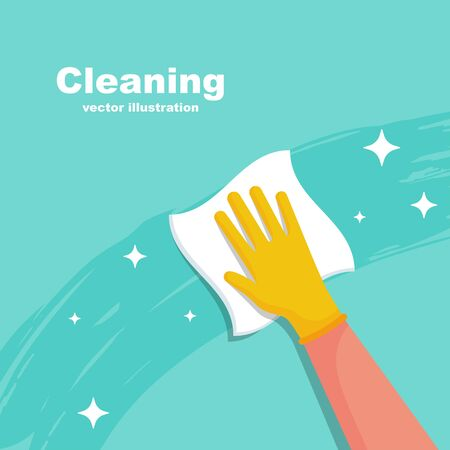 Houseworker wipes the surface with a napkin. Protective rubber yellow gloves on the hands. Cleaning with spray detergent. Hygiene home vector. Cleaning and disinfection. Housekeeping service concept. Vecteurs