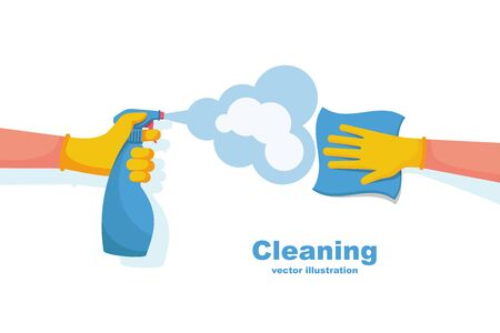 Surface cleaning in house. Cleaning with spray detergent. Spraying antibacterial sanitizing spray. Prevention coronavirus COVID-19. Napkin in the hands. Protective rubber gloves. Hygiene home vector. Vecteurs
