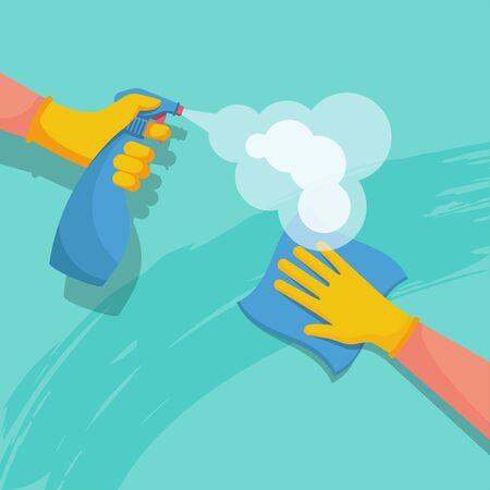 Oberflächenreinigung im Haus. Sprühen von antibakteriellem Desinfektionsspray. Prävention Coronavirus COVID-19. Desinfektionsflasche und ein Lappen in den Händen einer Reinigungskraft. Medizinische blaue Handschuhe. Oberflächen desinfizieren.