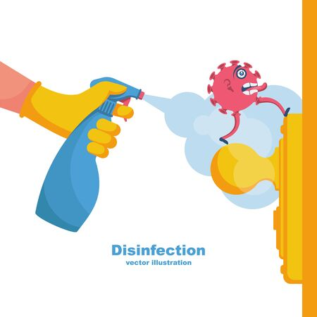 Close-up disinfection of door handles. Spraying disinfectant alcohol to the handle of a door. Vector illustration flat design. Prevention concept. Controlling the epidemic of coronavirus covid-19. Illustration
