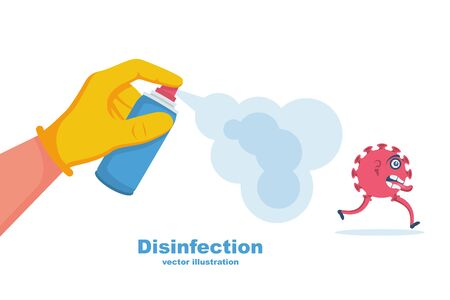 Man in gloves holds a bottle of antiseptic spray. Antibacterial flask kills bacteria. Disinfectant concept. Vector illustration flat design. Isolated on white background. Coronavirus protection.