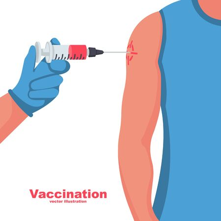 Vaccination concept. Medical template landing page. Doctor vaccinating patient in clinic. Injection in syringe. Vector illustration flat design. Isolated on white background. Shot in the shoulder.