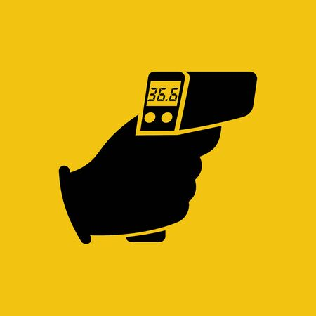 Digital non-contact infrared thermometer in hand doctor. Black icon thermometer measuring body temperature. Vector flat design. Isolated white background. Prevention of coronavirus disease 2019-nCoV.