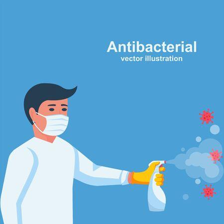 Antibacterial spray kills bacteria. Man holds bottle of antiseptic.