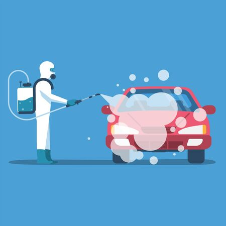 Car disinfection. Cleaning and washing vehicle.
