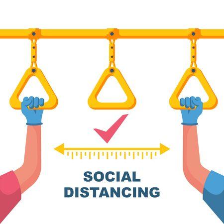 Social distance in public transport. Landing page social awareness.