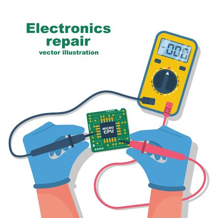 Electronics repair. Tester checking. Multimeter in hands of man.Calibration, diagnostics, maintenance, electronics repair and computer electronics.Vector flat design style. Service center, workshop.