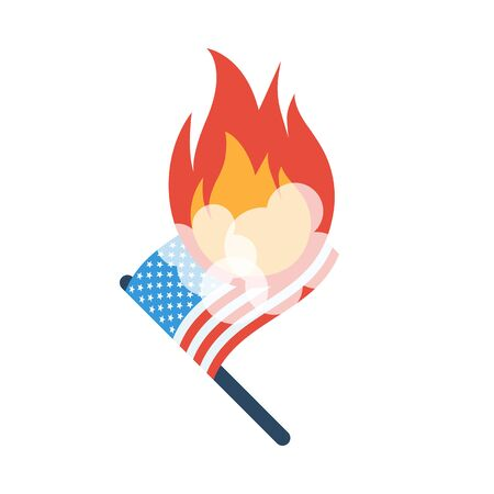America flag on fire. The symbol of protest vector