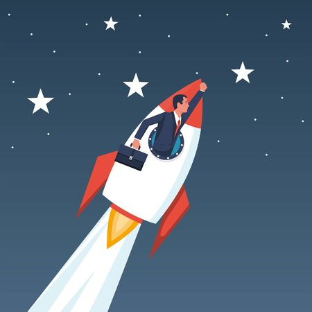 Businessman on a rocket. A successful person strive for a goal. Vectores