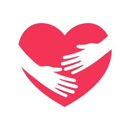 Hug the heart. Hands embracing heart flat logo Stock Illustratie