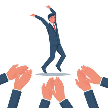 Applause to a successful businessman. Happy businessman rejoices in high achievements. Vector flat design. Isolated on white background. Symbol of expression of admiration. People clap their hands.