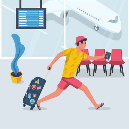 Man hurry on vacation. Young male in a beach dress with suitcase runs on plane. Discovery of travel. Vector flat design. Isolated on white background. Going on vacation. Weekend to an exotic country Stock Illustratie