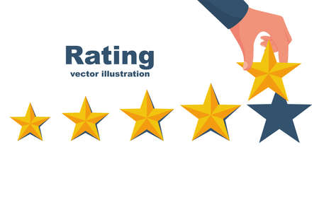 Star rating. Businessman holding a gold star in hand, to give five. Feedback concept. Evaluation system. Positive review. Vector illustration flat design. Isolated on white background. Quality work.