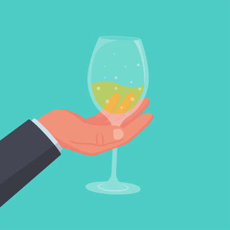 Wineglass with a drink in hand. Alcoholic drinks. Vector illustration flat design. Isolated on white background.