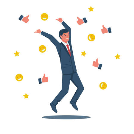Happy businessman is surrounded by likes emoticons and stars. High achievement, public recognition. Award for work. Vector illustration flat design. Isolated on white background.