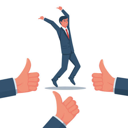Like a successful manager. Happy businessman rejoices in high achievements. Vector flat design. Isolated on white background. Symbol of expression of admiration.