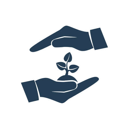 Environmental protection . Hands holding tree. Ecology concept. Protection ecology. Vector illustration flat design. Banner environmental protection.