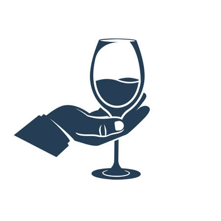 Black icon wineglass with a drink in hand. Silhouette alcoholic drinks. Vector illustration flat design. Isolated on white background.  Illustration