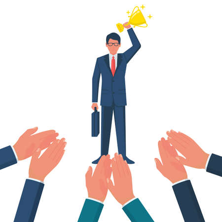 Applause to a successful businessman vector