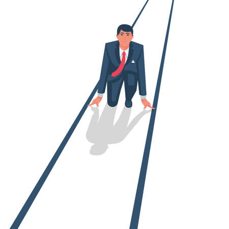 Businessman on a starting position