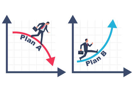 Businessman running business graph on up and down 向量圖像