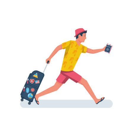 Man hurry on vacation vector 向量圖像