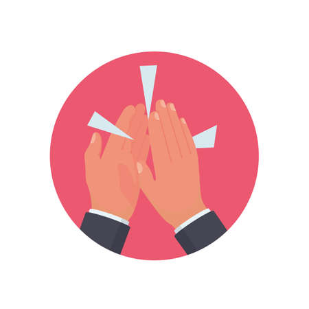 Clapping hands flat icon. Applause clap hands