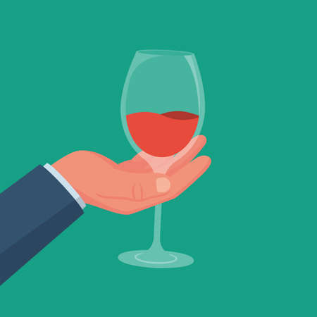 Wineglass with a drink in hand. Alcoholic drinks. 向量圖像