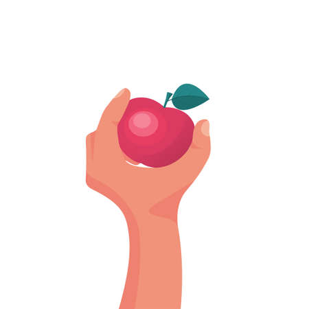 Man holding a red apple in hand. Healthy and wholesome fruit concept. 向量圖像