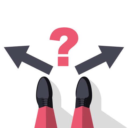 Decision concept. Decide direction, arrows right left.