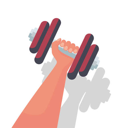 Bumbbells in hands icon. Hand of man holding a dumbbell.