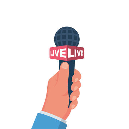 Hand holding microphone. Live news, report template