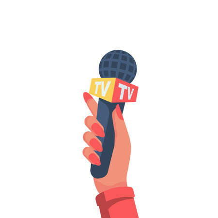 Woman in hand holding microphone TV