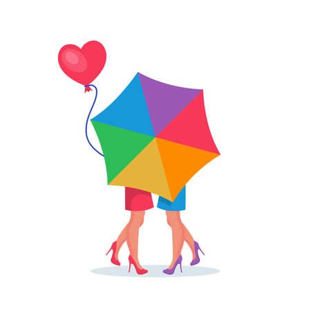 Lesbian couple kiss behind the umbrella. Modern tolerant young people 向量圖像